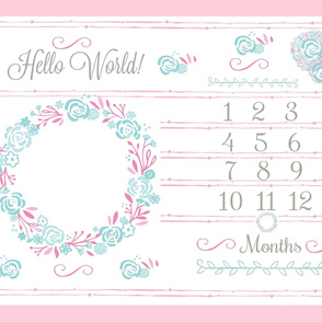 Hello World 54 rose bliss growth chart - pink mint