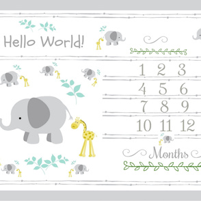 Growth chart 54 - elephant 2  friends gray mint