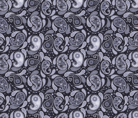 Monochrome Paisley  fabric by meredith_watson on Spoonflower - custom fabric