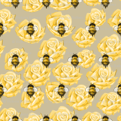 Golden Bees and Roses