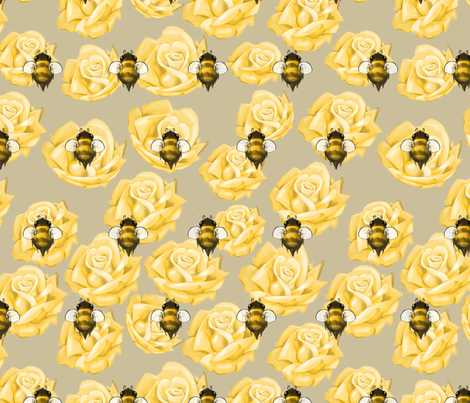 Golden Bees and Roses fabric by ghostfire on Spoonflower - custom fabric