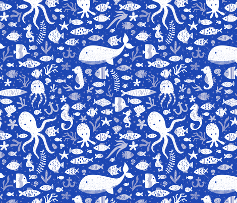 Under Water Sea Life in Cobalt Blue fabric by latheandquill on Spoonflower - custom fabric