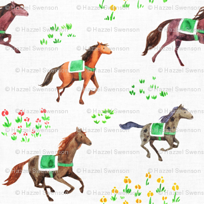 Racing through flower fields (white)