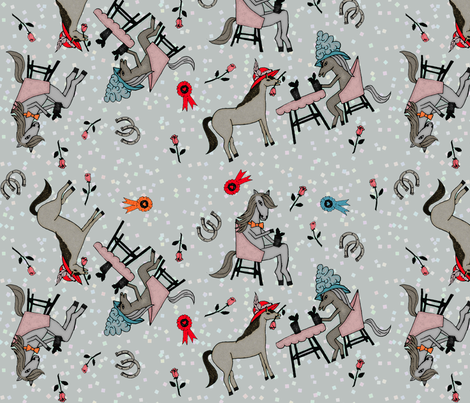 Horses party fabric by lucybaribeau on Spoonflower - custom fabric