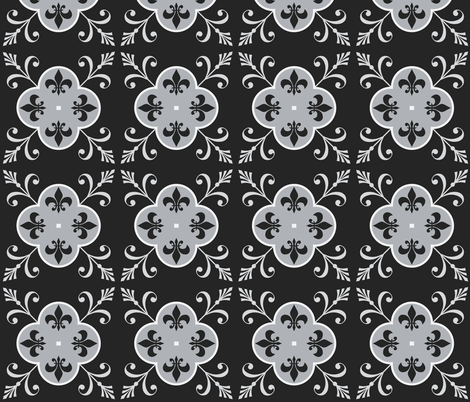 Monochrome Cement Tile fabric by shortcake_studio on Spoonflower - custom fabric