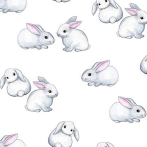 Little White Rabbits with Pink Ears in Watercolor - small version