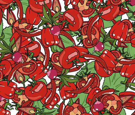 Red Kitchen fabric by marusoi on Spoonflower - custom fabric