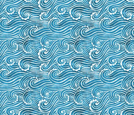 Turquoise waves fabric by madebytoya on Spoonflower - custom fabric