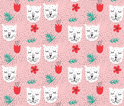 Snow leopards blush and red  fabric by silksieve on Spoonflower - custom fabric