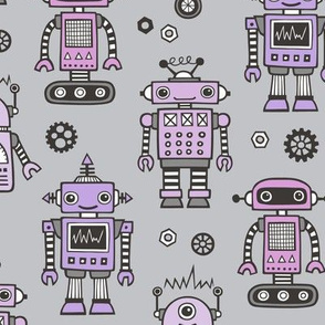 Retro Robots Purple on Grey