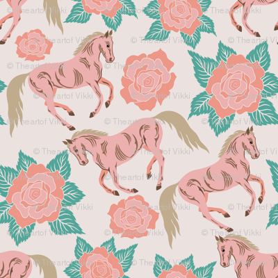 Horses And Roses In Pink