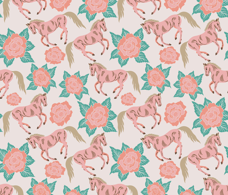 Horses And Roses In Pink fabric by theartofvikki on Spoonflower - custom fabric