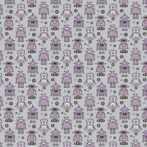 Retro Robots Purple on Grey tiny small 1 inch