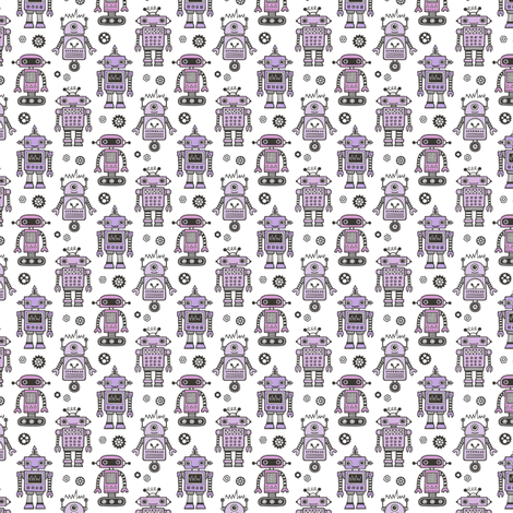 Retro Robots Purple Tiny Small 1 inch fabric by caja_design on Spoonflower - custom fabric