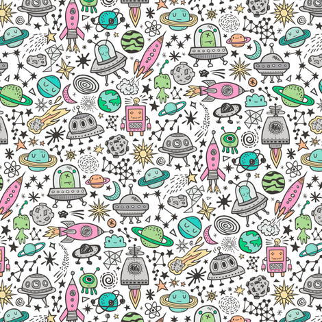 Space Galaxy Universe Doodle with Aliens, Pink Rockets, Mint Planets, Robots & Stars on White Smaller fabric by caja_design on Spoonflower - custom fabric