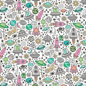 Space Galaxy Universe Doodle with Aliens, Pink Rockets, Mint Planets, Robots & Stars on White Smaller