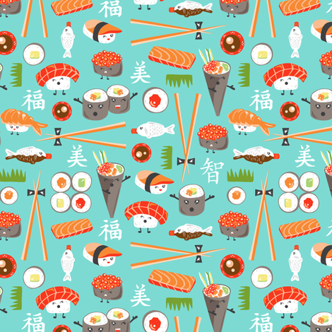 Happy Sushi - Kawaii Ditsy Scale fabric by heatherdutton on Spoonflower - custom fabric