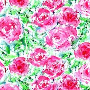 Blooming roses, watercolor