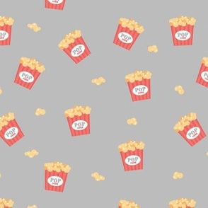 Popcorn party date night to the movies cool retro style food pattern gray