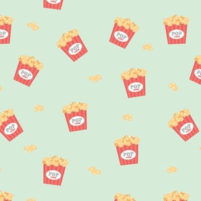 Popcorn party date night to the movies cool retro style food pattern mint