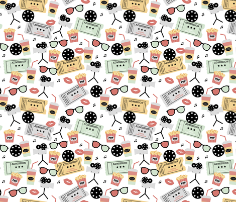 Let's go see a movie film theater illustration pattern Mint Coral fabric by littlesmilemakers on Spoonflower - custom fabric