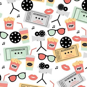 Let's go see a movie film theater illustration pattern Mint Coral