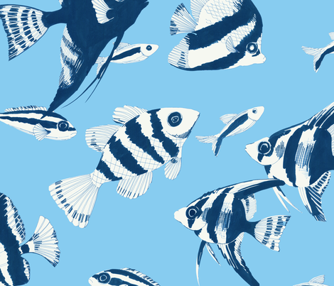 Reef fish (blue) fabric by kate_rowley on Spoonflower - custom fabric