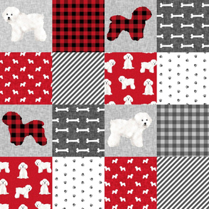 bichon frise pet quilt a dog breed quilt fabric wholecloth cheater quilt