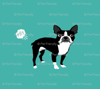 Boston Terrier Dog Breed Fabric Funny Fart Terriers Teal