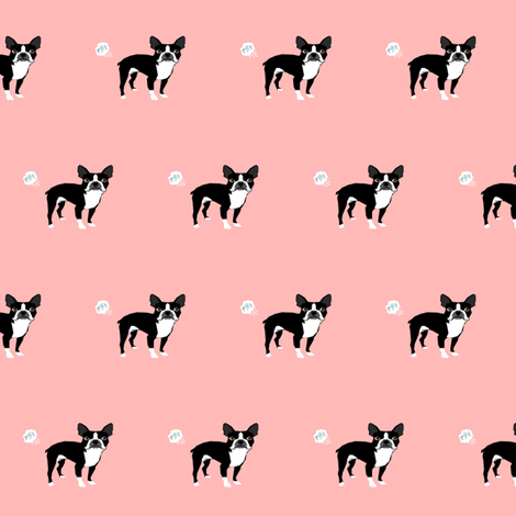 boston terrier dog breed fabric funny fart terriers pink fabric by petfriendly on Spoonflower - custom fabric