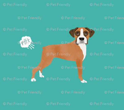 Boxer Dog Breed Fabric Funny Fart Boxers Teal Fabric