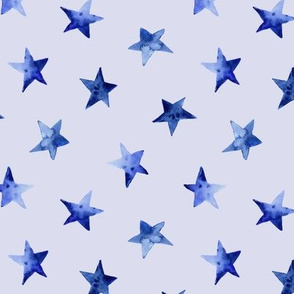 Watercolor blue stars on blue