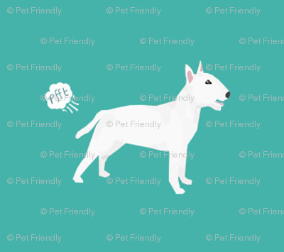 bull terrier dog breed funny fart teal