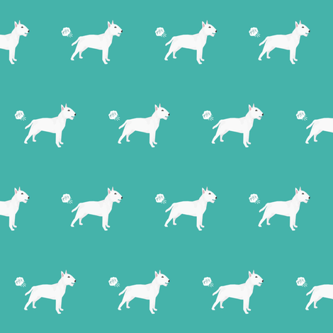 bull terrier dog breed funny fart teal fabric by petfriendly on Spoonflower - custom fabric