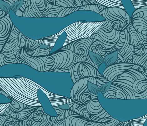Blue Whales & Waves fabric by designs_by_miss_mandee on Spoonflower - custom fabric