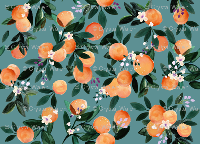 Dear Clementine oranges - teal