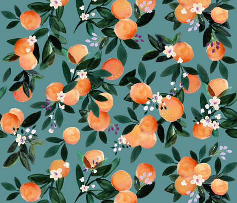 Dear Clementine oranges - teal fabric by crystal_walen on Spoonflower - custom fabric