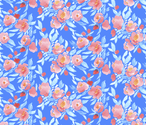 Watercolor Floral Blue Blush fabric by mjmstudio on Spoonflower - custom fabric