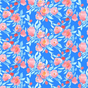 Watercolor Floral Blue Blush