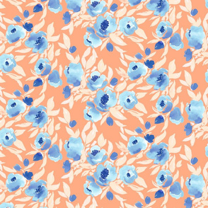 Watercolor Floral Blue and Peach