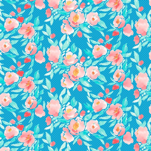 Watercolor Floral Dot in Coral and Aqua Blue