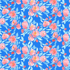 Watercolor Floral Dot Blush on Blue
