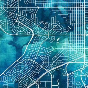 Calgary City Map - Fat Quarter - Rotated