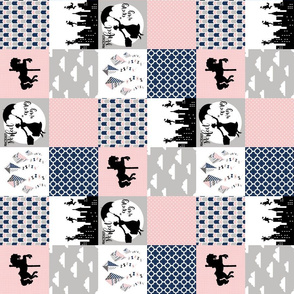 3 Inch - Practically Perfect - Wholecloth Cheater Quilt - Navy/Pink - Rotated