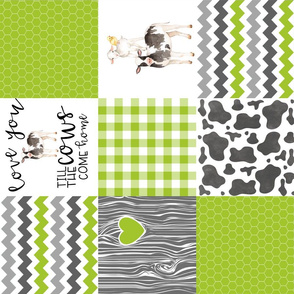 Farm//Love you till the cows come home - Wholecloth Cheater Quilt - Lime - Rotated