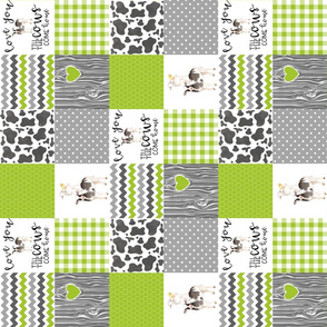 3 Inch - Farm//Love you till the cows come home - wholecloth cheater quilt - Lime - Rotated