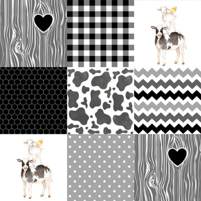 Farm//Love you till the cows come home - wholecloth cheater quilt - black