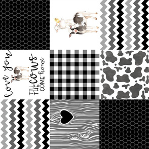 Farm//Love you till the cows come home - wholecloth Cheater Quilt - Black - Rotated