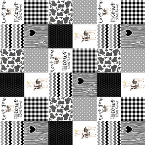 3 Inch - Farm//Love you till the cows come home - Wholecloth Cheater Quilt - Black - Rotated
