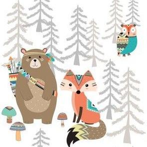 Tribal Animals - Southwest Bear Fox Owl